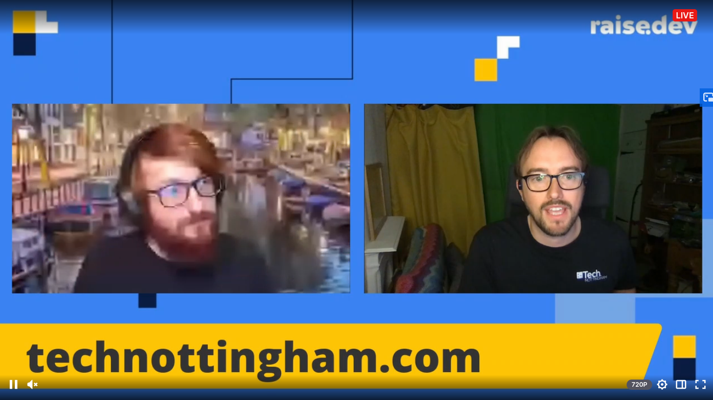 Screenshot of Andrew speaking to Joe Nash on the raise.dev livestream on Twitch about Tech Nottingham and communities