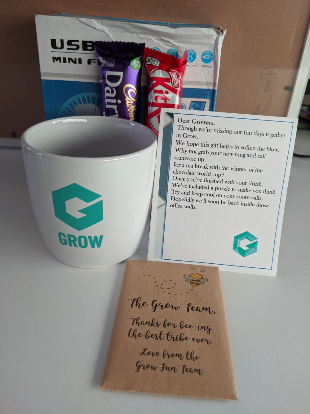 A USB fan, a Dairy Milk Bar, a KitKat, a mug with the Grow tribe logo on it, a short note, and some bee-friendly wildflower sees