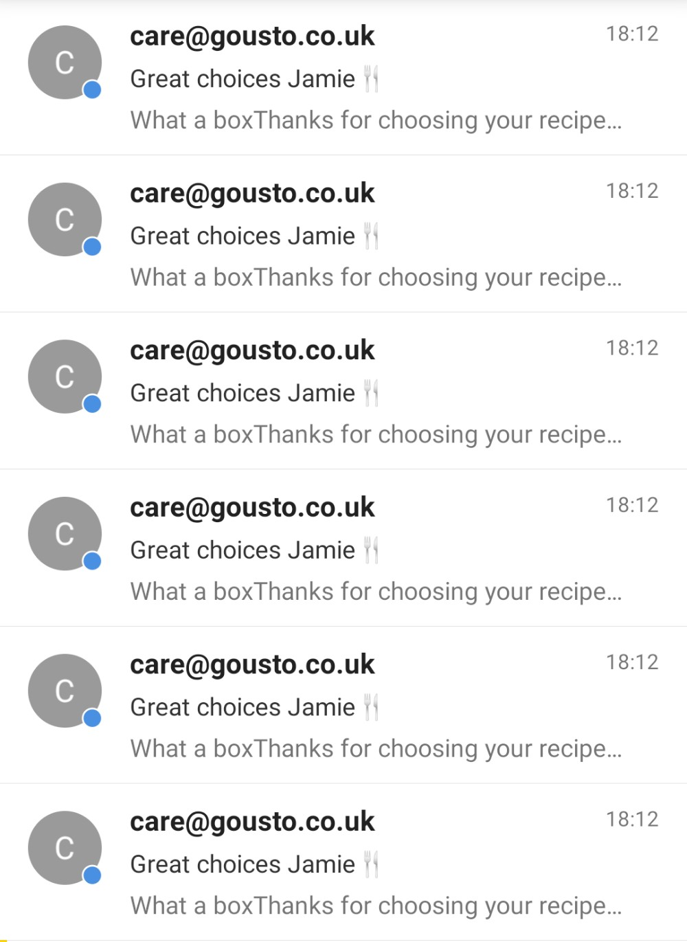 "A screenshot of Jamie's email inbox, showing 6 emails from Gousto titled ""Great choices Jamie"""