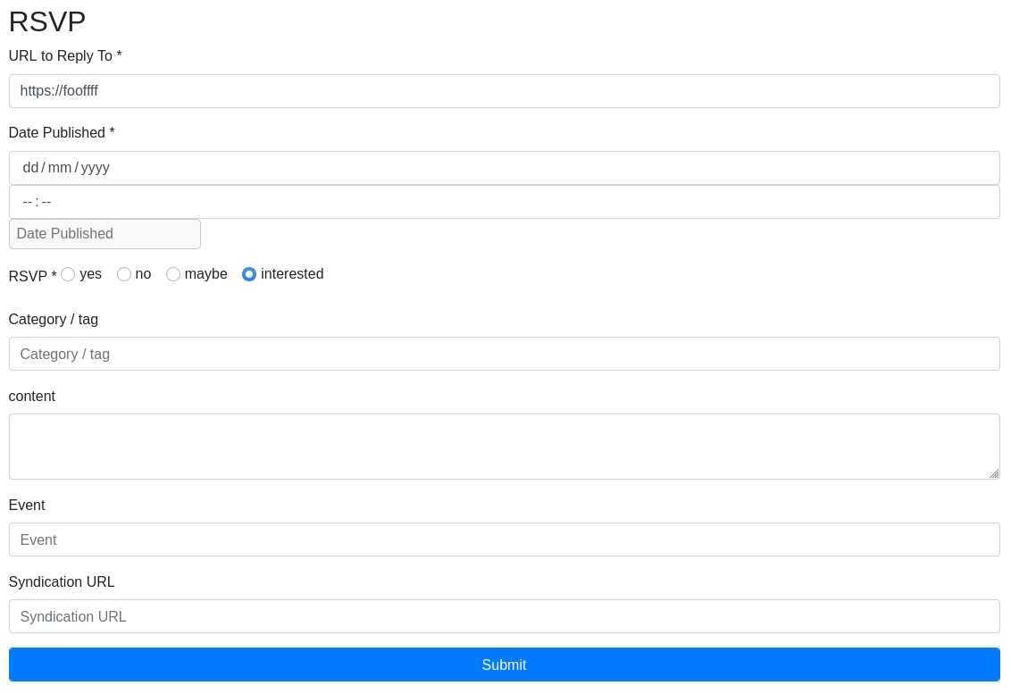 A screenshot of an RSVP being created, which has radio buttons to allow for one choice for yes/no/maybe/interested